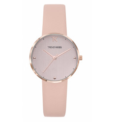 MONTRE TRENDY KISS - LAURA BRACELET CUIR ROSE POUDRÉ CADRAN ROSE