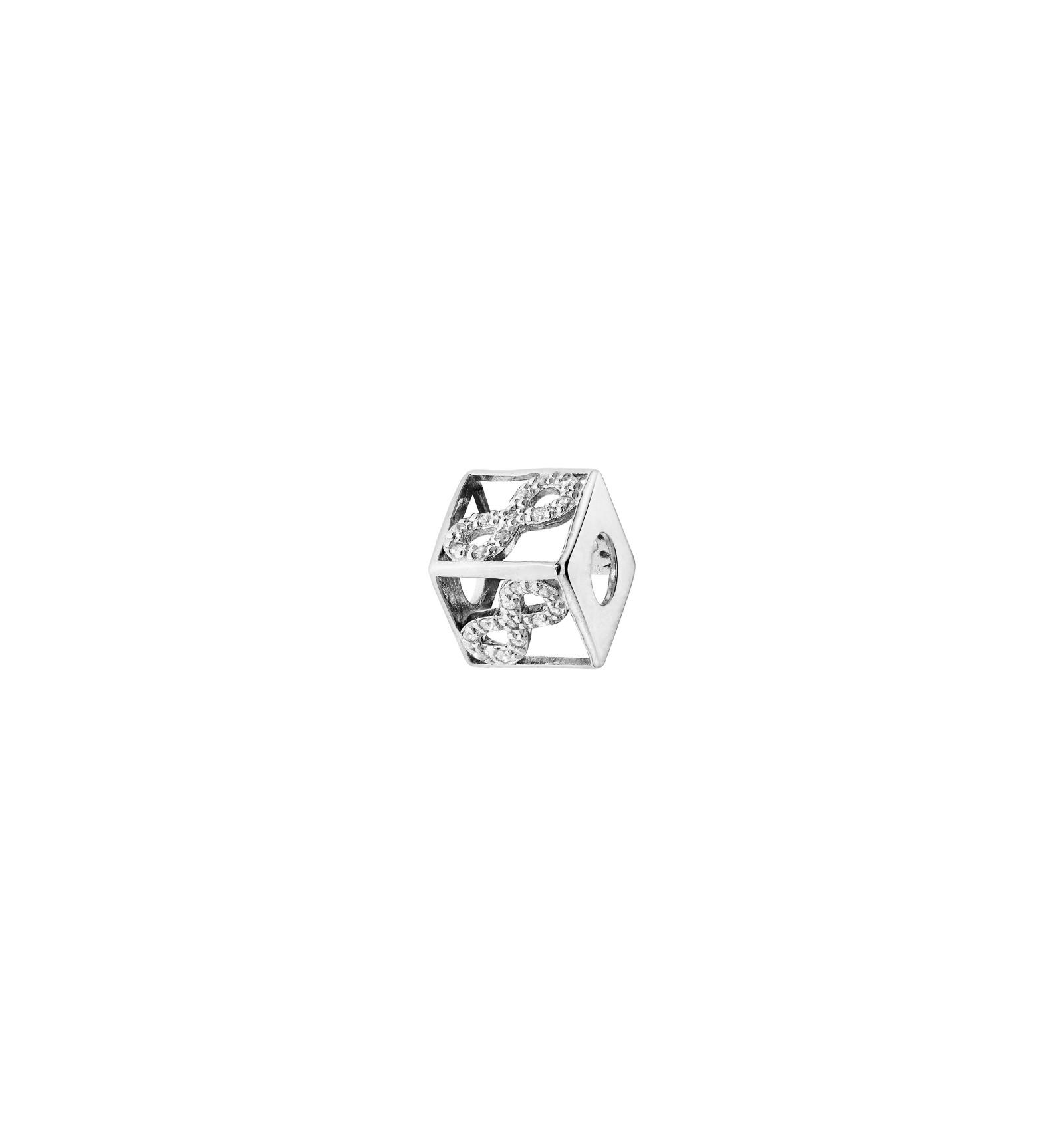 Charm Cube en Argent 925//1000 et Cristal Attache Mousqueton