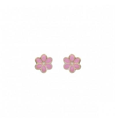 BOUCLES D'OREILLES ENFANT - OR JAUNE FLEUR ROSE