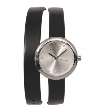 MONTRE MURAT PARIS - CUIR DOUBLE RANG NOIR